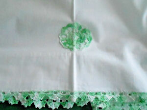 Antique White Cotton Sheet Green Hand Crochet Trim V G Condition Circa 1930