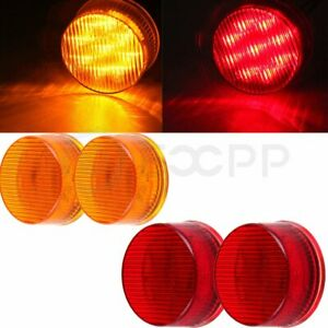 2 Red 2 Amber Round 2 Side Marker Lights Clearance 9 Led Truck Trailer Lamp