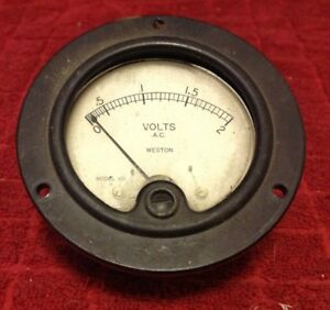 Vintage Weston Ac Volts Metal Panel Meter Gauge Model 476 Voltage 0 2 Glass Face