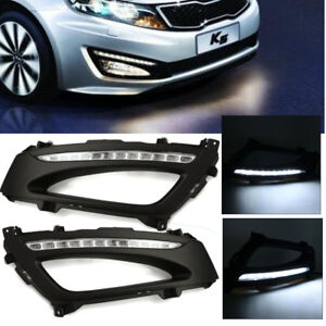 2pcs Led Daytime Running Light Drl Fog Lamp Xenon White For Kia K5 Optima 11 13