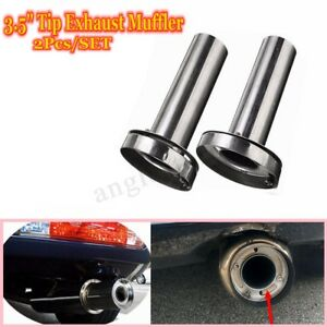 2x Universal Car 3 5 Insert Removable Exhaust Silencer Muffler Stainless Steel