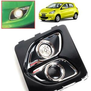 Cover Fog Lamp Spot Light Carbon Chrome For Mitsubishi Mirage Space Star 2012 15