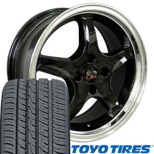 17x8 17x9 Black Cobra R Style Wheels Tires Rims Fit 4 Lug Mustang 79 93 Oew