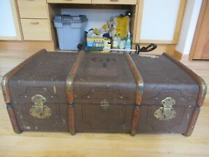 Vintage Large Steamer Trunk With Decorative Maker S Gr1 Trim 4 Wooden Bands