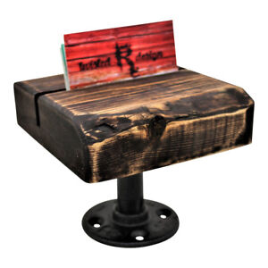Industrial Style Pipe And Wood Business Card Holder