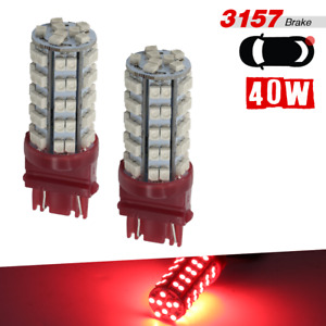 2 X 3157 High Power 68 Smd Led Red Brake Tail Stop Lamp Light Bulbs 3057ll 3757a