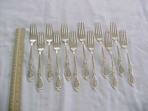 12 Dinner Forks Wm Rogers Son Silver Plate Victorian Rose