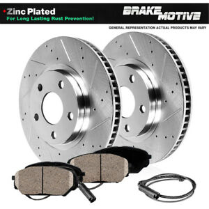 Front Drilled And Slotted Brake Rotors Ceramic Pads For Mercedes Benz Slk350