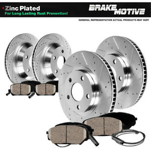 Front Rear Drill Slot Brake Rotors Ceramic Pads For 2003 Mercedes Benz S430