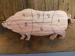 Folk Art Pig Butcher Diagram Pork Cut Chart Antique Wood Sign