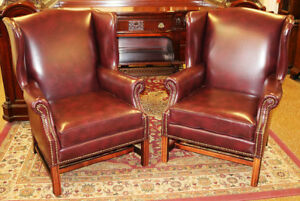 Stately Pair Burgundy Genuine Top Grain Leather Wing Fire Side Office Chairs
