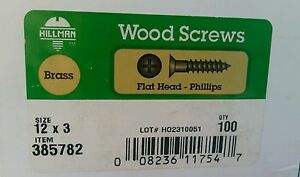 12 X 3 Flat Head Phillips Wood Screw Brass 100pcs