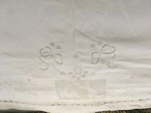Antique Matrimonial White Embroidered Cutout Handmade Linen Bed Cover Sheet King