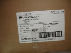 Lot Of 10 3m 237aa Trizact Abrasive Belts Film lok 19 po X 60 po A65
