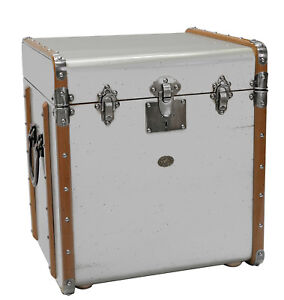 Silver Stateroom End Table 21 Steamer Travel Trunk Antiqued French Finish New