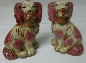 Pink Staffordshire Dog Figurines With Flower Baskets Reproductions Super Cute