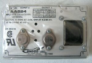 Condor Power Supply Aa524 Outputs 5vdc 2 0a 18 24vdc 0 3a New Old Stock