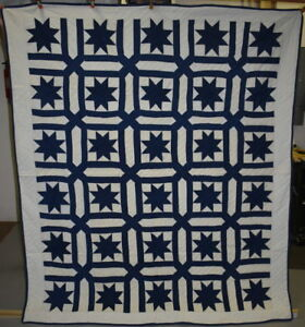 Blue And White Antique Quilt Star In A Garden Maize 18488