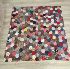 Vintage Antique All Over Hexagon Hand Stitched Quilt Handmade