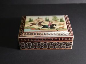 Persian Khatam Inlaid Wooden Jewelry Trinket Box Miniature Hunting Scene