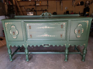 Green Antique Sideboard English Tudor Buffet 1920 S Hand Painted Artist Signed