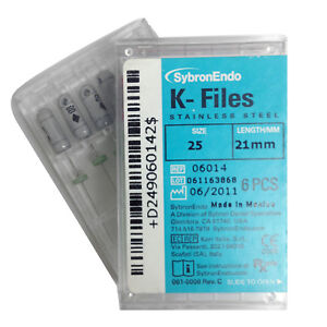 Kerr Sybron Endo Dental 21mm Stainless Steel K files 6 file Per Box All Size Fda