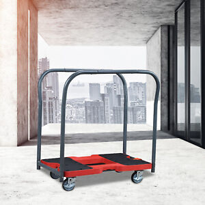 New 1500 Lbs Cart Warehouse Push Hand Red Moving Platform Brakes For Emergency