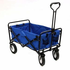 Shopping Basket Folding Cart On With Wheels Outdoor Utility Wagon Blue Large New