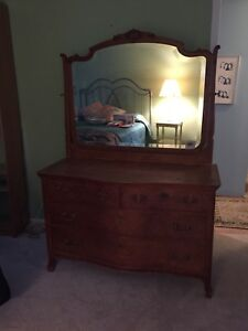Antique Walnut Dresser With Bevelled Mirror