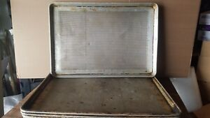 10 Used Perforated Commercial Grade 18 X 26 Full Size Aluminum Sheet Pans Baking