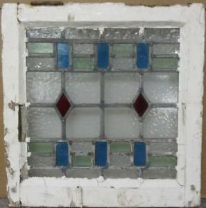 Old English Leaded Stained Glass Window Cute Geometric Design 16 25 X 16 75