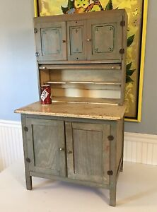 Antique Sellers Oak Childs Cabinet Original Paint Hoosier Youth Kitchen Cupboard