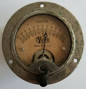 Antique Vintage Victor Volts Art Deco Panel Meter Steampunk Gauge Lamp Art