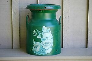 Old Vintage Rustic Primitive Green Dairy Farm Milk Cream Can Container Handpaint