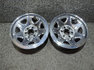 Silverado 1500 Tahoe 17 Factory Oe Chrome Steel Wheels 17x8 6 Lug 1988 2019 X2