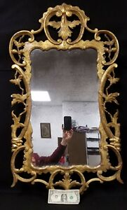 Large Antique Italian Florentine Gold Leaf Mirror In Chippendale Style
