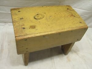 Antique Primitive Crude Wooden Foot Stool Bench Rest Farm Country Rough Top