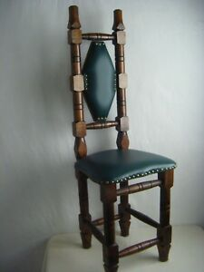 Antique Spanish Mexican Jacobean Small High Back Praying Chair Refurbished Seat