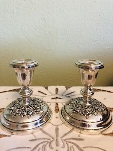 Gorham Pair Of Sterling Silver Candlesticks Buttercup Pattern 998