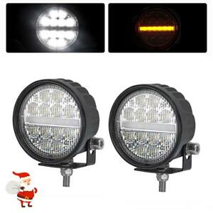 2x 3 5 Inch 48w Cree Led Work Light Bar Amber Pods Round Driving Fog Waterproof