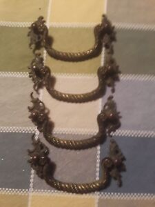 4 Antique Drawer Pulls All Solid Brass