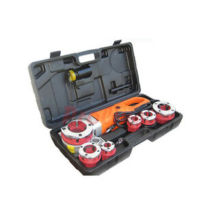 1 2 To 2 Portable Electric Pipe Threading Machine Threader 6 Dies Free Shipping