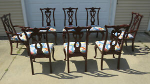 Thomasville Dining Room Chairs Cherry Chippendale Eight