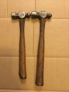 Blue Point Ball Peen Wooden Handled Vintage Hammers 12oz 16oz Used Bp12b Bp16b