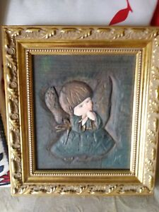 Vintage Style Gold Framed Hand Carved Wood Panel Of An Angel Child Unusual