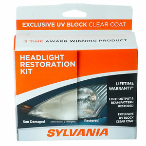 Sylvania Headlight Restoration Kit Restore Sun Damaged Headlights Uv Block Coat
