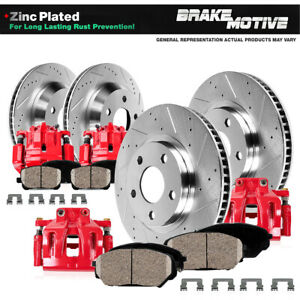 Front Rear Red Brake Calipers Rotors Ceramic Pads For 2010 2014 Ford Mustang