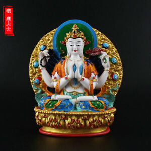 Tibetan Buddhism Hand Painting Resin Statue Four Arm Avalokiteshvara Guanyin
