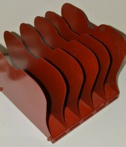 Vintage 1960s Red Art Steel Co Ny Office Industrial Paper File Folder Organizer