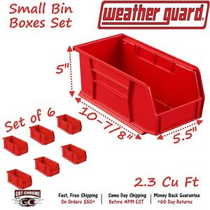 9858 7 01 Weather Guard Red Zone Plastic Small Red Bin Box Set Of 6
